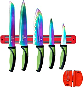 SiliSlick - Rainbow Knife Kitchen Starter Set (5 Professional Grade Rainbow Blade Knives) | Includes Knife Sharpener & Magnetic Wall Hanger | Green Handle with Red Knife Rack | Kitchen Cutlery Kit