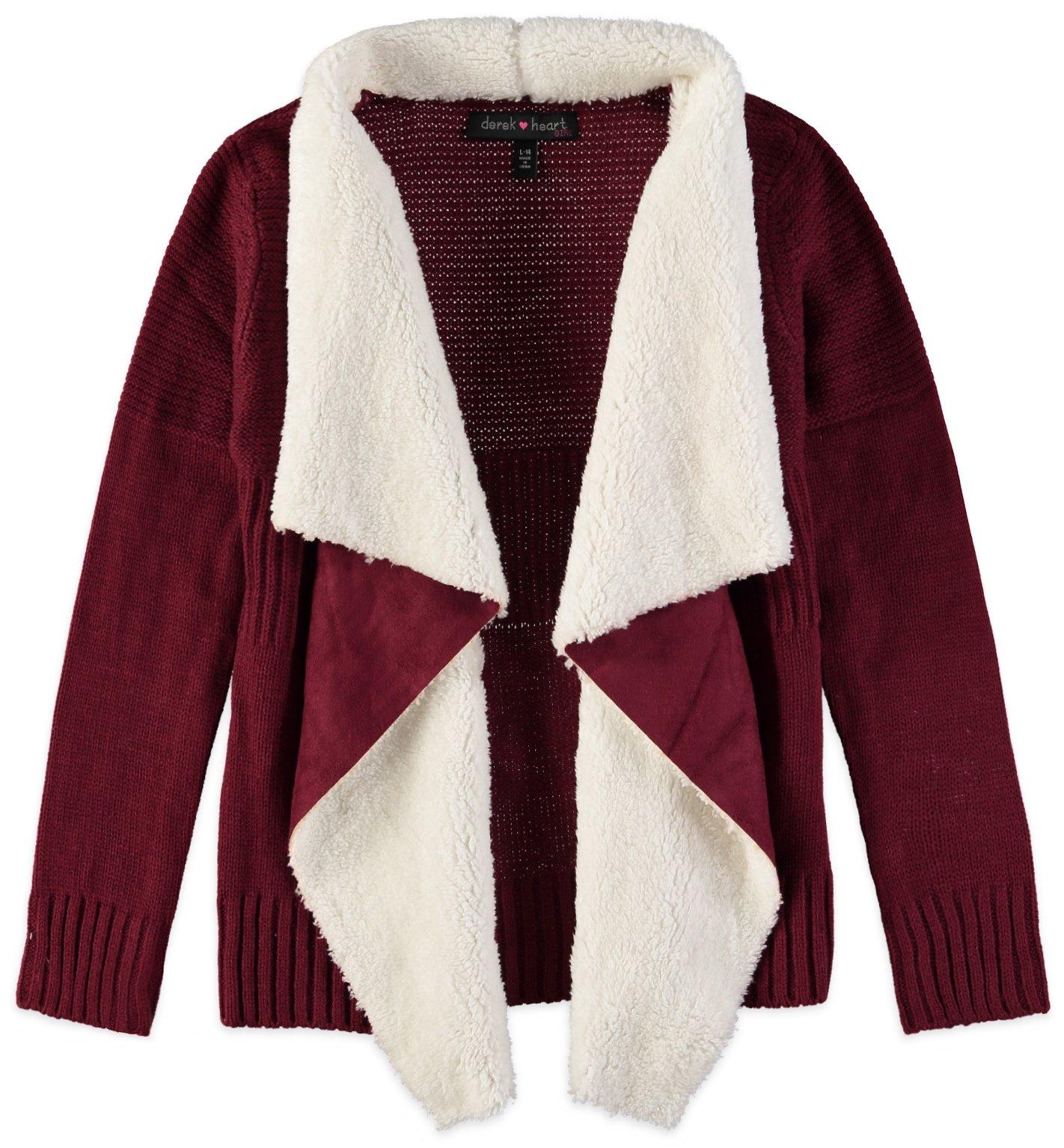 Derek Heart Big Girls' Long SLV Mixed Stitch Open FRT Cozy with Sherpa Collar, Burgundy/Cloud Cream, Large/14