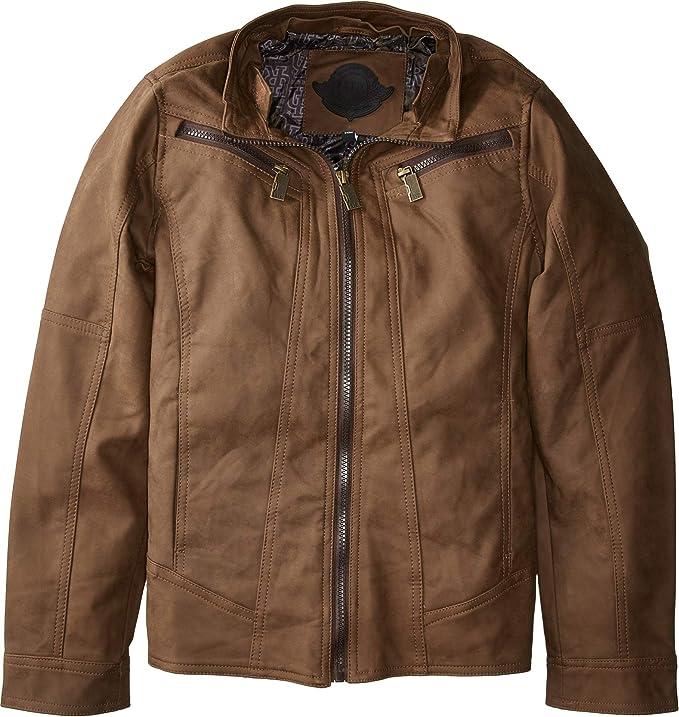 eb36e74088e14 Amazon.com  Urban Republic Kids Mens Victor PU Suede Biker Jacket w Fleece  Hoodie (Little Kids Big Kids)  Clothing