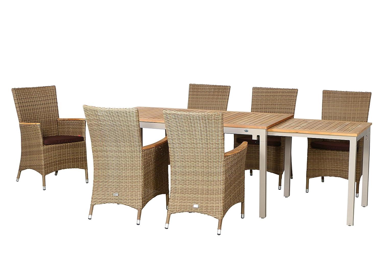 13-teilige Luxus Aluminium Teak Polyrattan Geflecht Gartenmöbelgruppe Tampa , 6 Diningsessel, 6 Auflage und ein Ausziehtisch Tifosi 160/280x90, champagner - sand