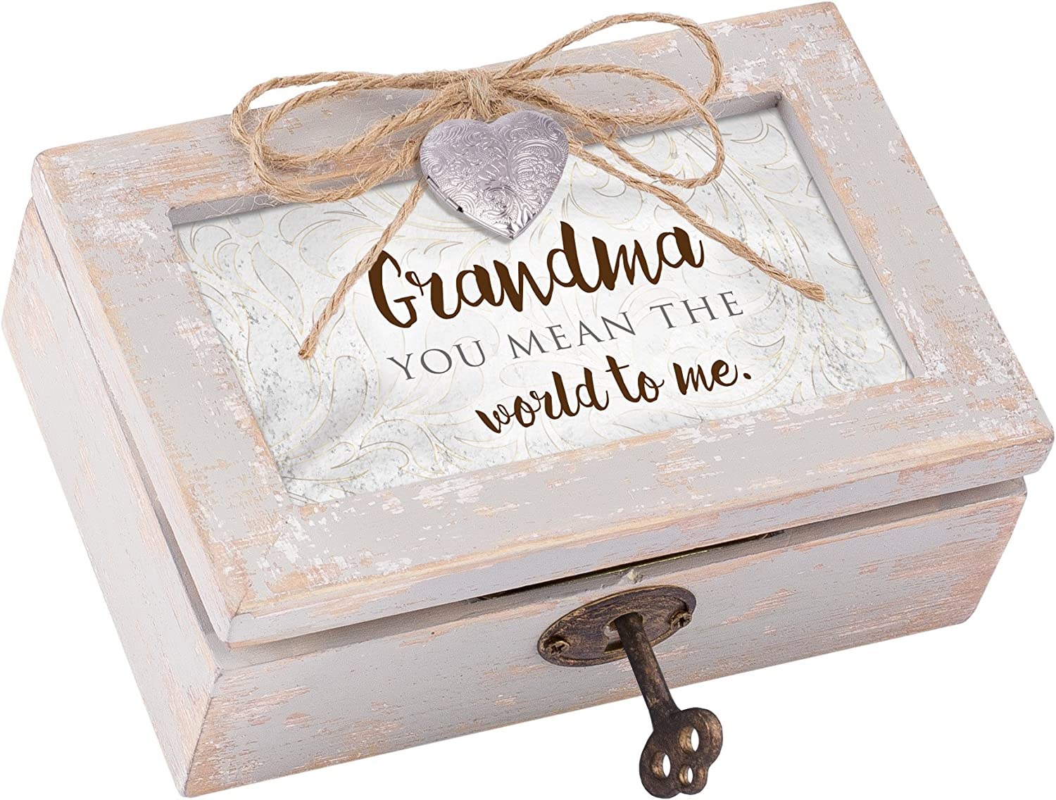 Cottage Garden Grandma You Mean The World Ivory Distressed Jewelry Music Box Plays Wind Beneath My Wings