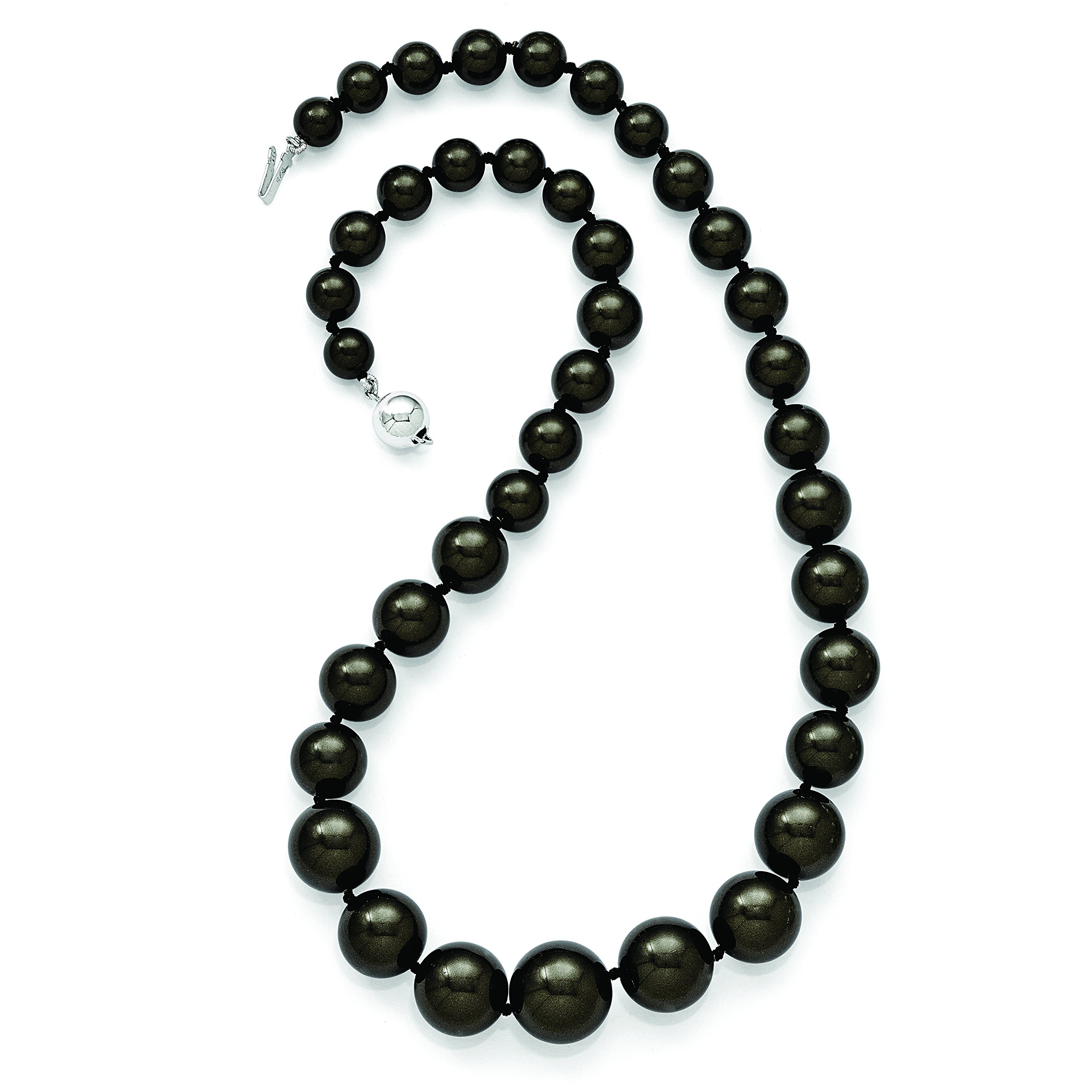 ICE CARATS 925 Sterling Silver Majestik 8 16mm Graduated Black Shell Bead Chain Necklace Pearl Fine Jewelry Gift Set For Women Heart by ICE CARATS (Image #2)