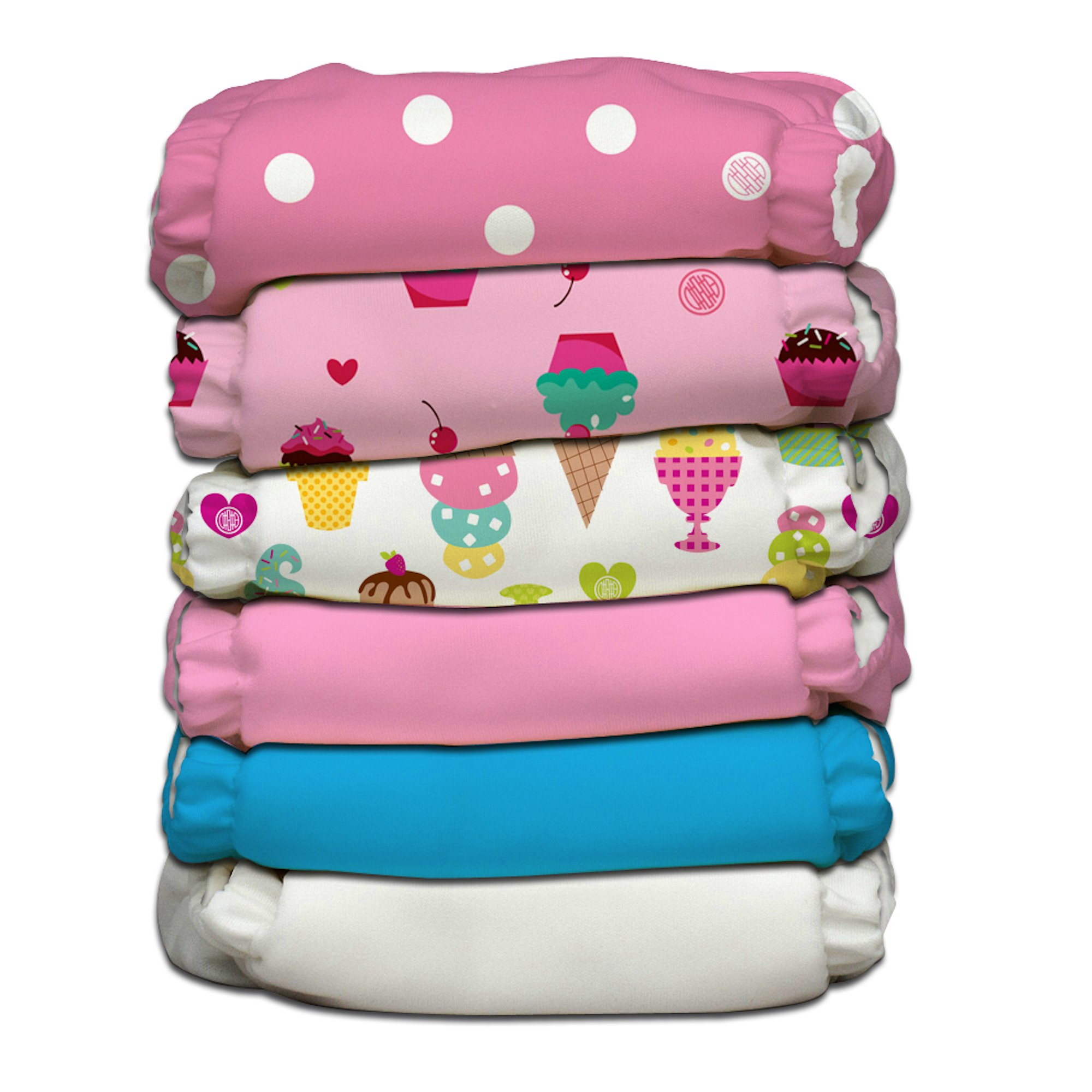 Charlie Banana 6 Piece Diapers with 12 Inserts, Organic Popsicle