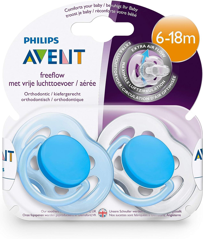 Pack de dos chupetes ultra suaves y flexibles 6-18 meses decorados ni/ño color azul cielo Philips Avent SCF222//22