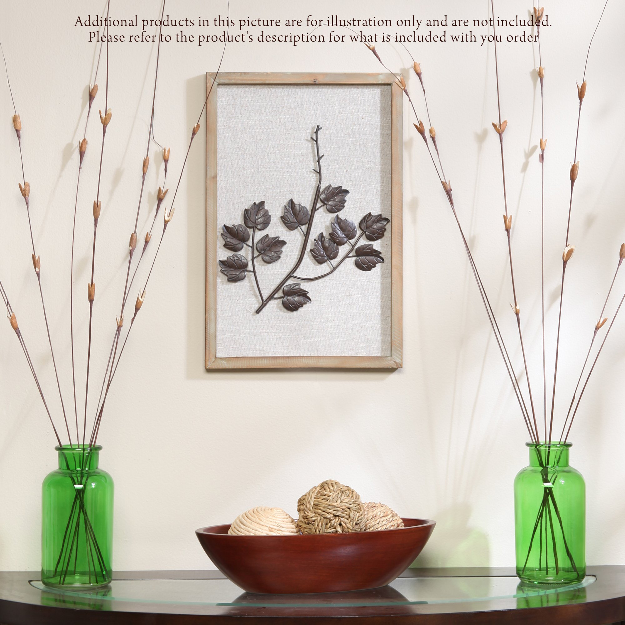 Hosley's Leaf Branches Wood & Metal Wall Decor in a Frame. Ideal Gift for Home, Wedding, Party. Home Office, Spa O9