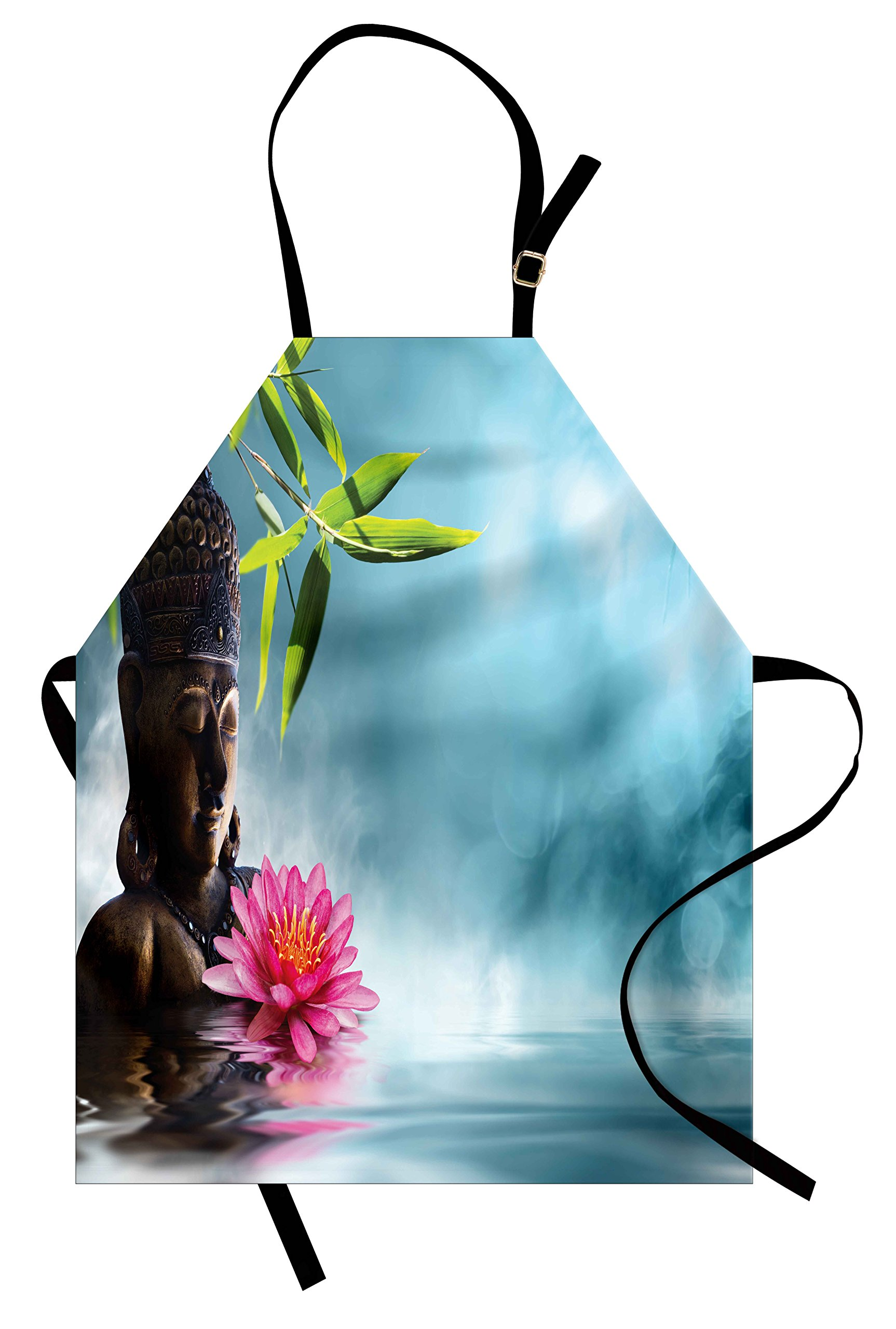Lunarable Zen Apron, Zen Waterlillies Spa Theme Meditation Nature Feng Shui Natural Calm Water, Unisex Kitchen Bib Apron with Adjustable Neck for Cooking Baking Gardening, Pale Blue Green Pink