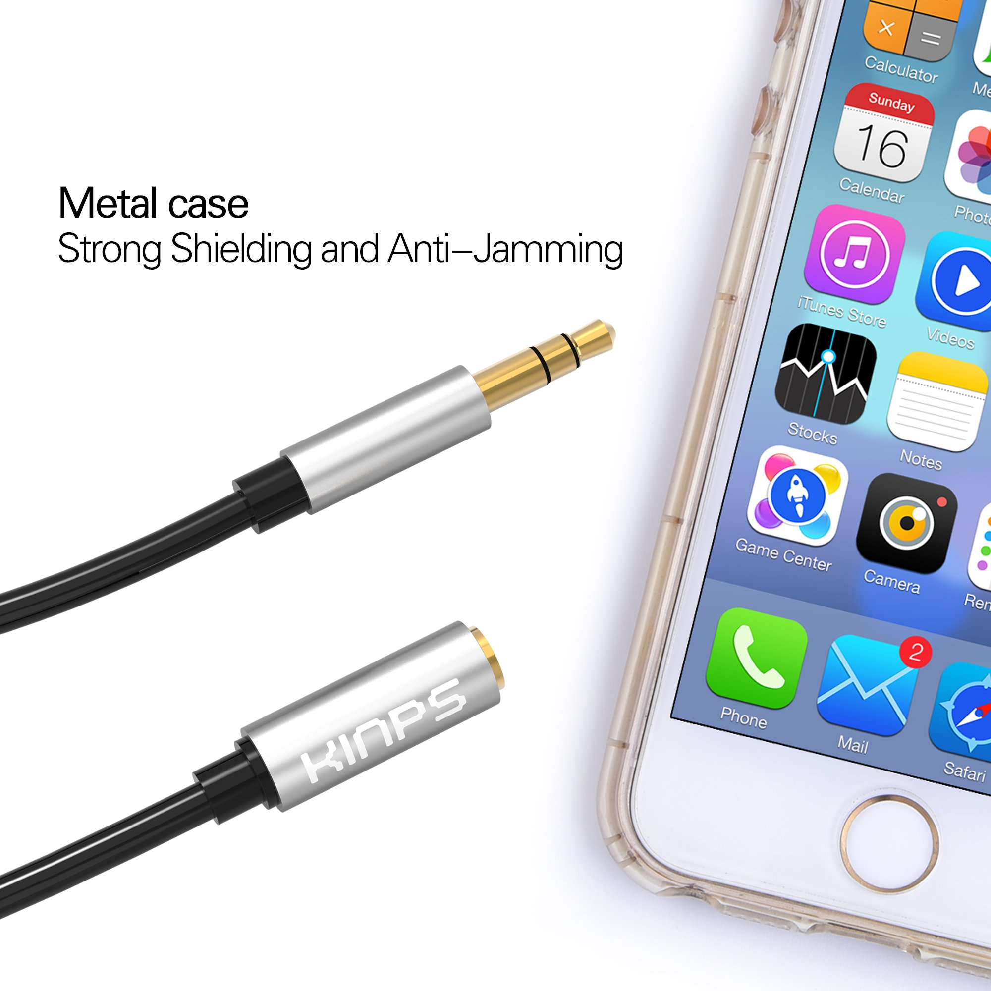 Kinps 5M Audio Auxiliary Stereo Extension Cable 3.5mm Male to Female, Stereo Jack Cord for Phones, Headphones, Speakers, Tablets, PCs, MP3 Players and More (16.6ft/5m, Black)