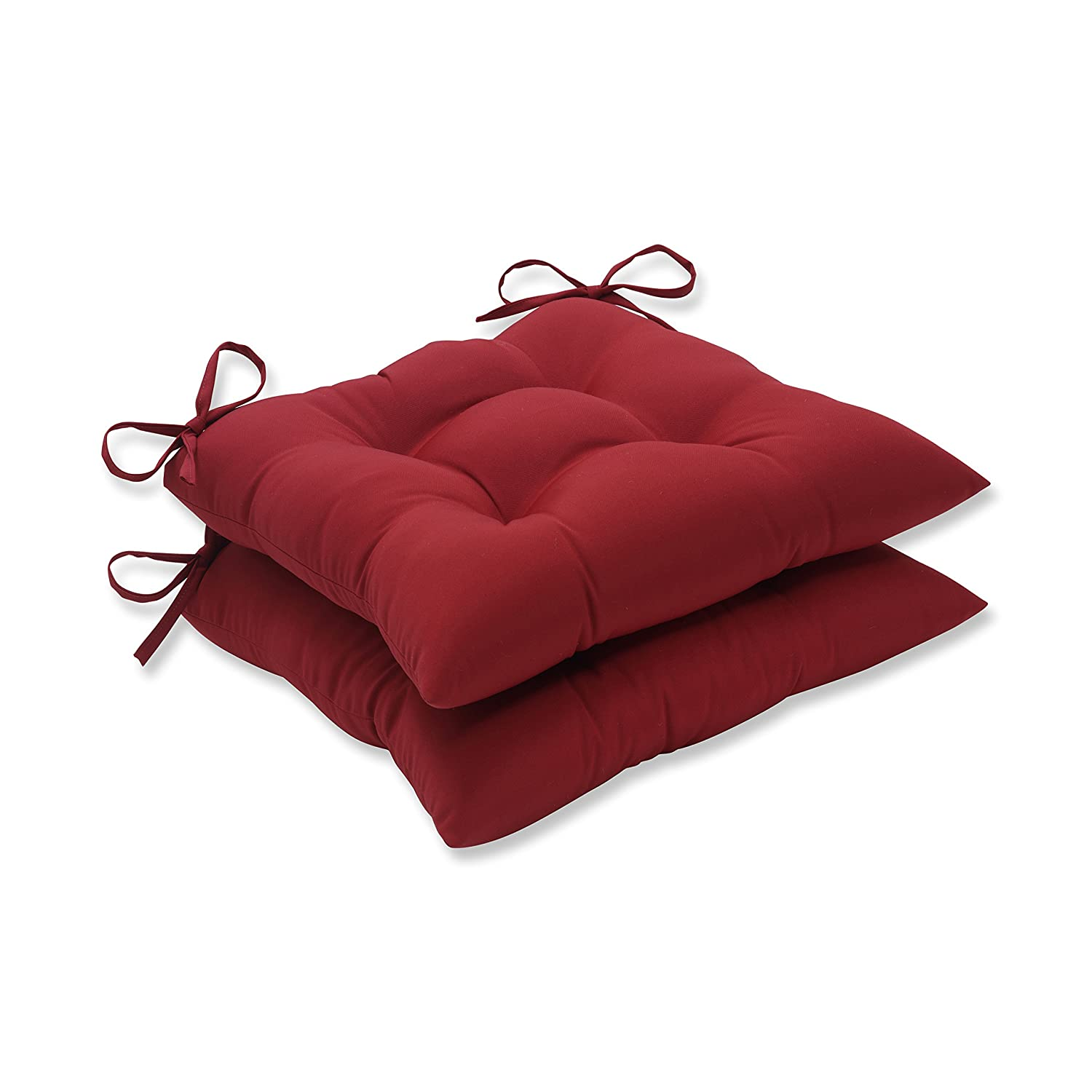 Pillow Perfect Indoor Outdoor Red Solid Tufted Seat Cushion, 2-Pack