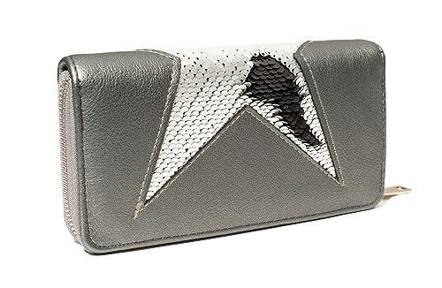 5271cc39c9727 Kandharis Geldbörse Portemonnaie mit Pailletten Wendepailletten Glitzer  Minibag Brieftasche Börse Zippverschluss für Damen Kunstleder GB-