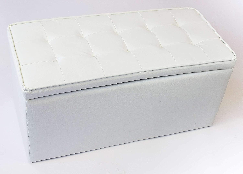 AVANTI TRENDSTORE Disponibile in Bianco Bianco Pouf Contenitore in Similpelle Nero o a Scacchi Dimensioni: Lap 85x40x40 cm Storage