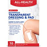 """All Health Waterproof Transparent Dressing & Pad, 10 Dressings, 2.375"""" X 4"""" 