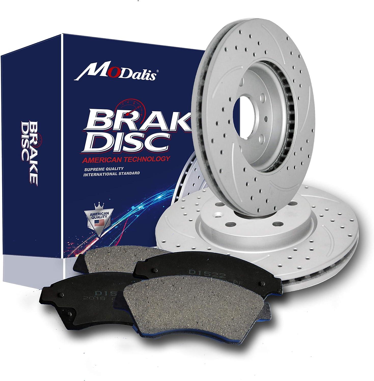 Max Brakes Rear OE Series Rotors w//Ceramic Pads Premium Brake Kit KT180542 Fits 2000-2009 Honda S2000