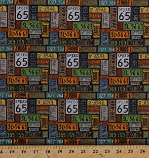 Amazoncom Cotton Vintage Route 66 Map Newspaper Print Road Signs