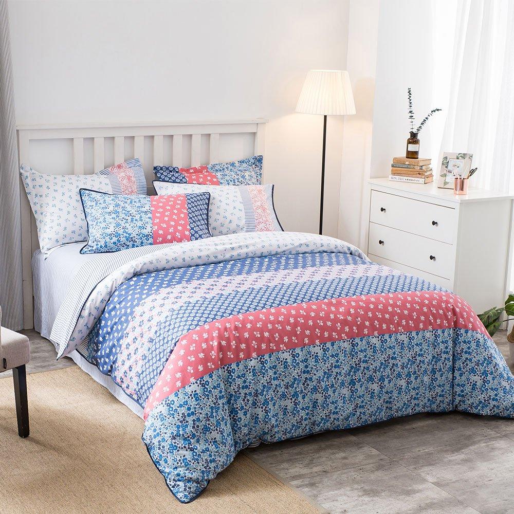 Umi. Essentials – Bunt bedruckte Bettwäsche aus reiner Baumwolle mit  Kopfkissenbezug (155x220+1x80x80cm)