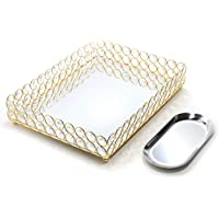 Lindlemann Mirrored Crystal Vanity Tray - Ornate Decorative Tray for Perfume, Jewelry and Makeup (Rectangle 12 x 9 inches, Gold)