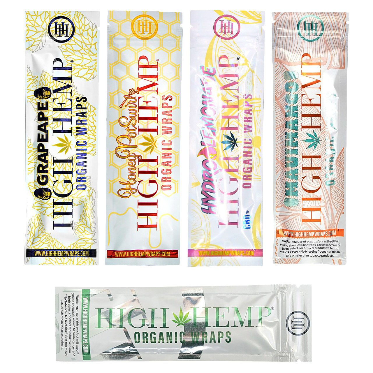 25 Count Variety Pack of Organic Wraps - Tobacco Free, Vegan, Non-GMO - 5 Packs Each of 5 Flavors - Grape Ape, Honey Pot Swirl, Maui Mango, Original, Hydro Lemonade + Beamer Smoke Sticker