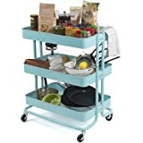 Large Metal Rolling Utility Cart with Casters Ideal for Arts and Crafts Bar Storage Kitchen Bathroom or Nursery (Turquoise)