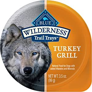 Blue Buffalo Wilderness Trail Trays High Protein Natural Adult Wet Dog Food Cups, Turkey Grill 3.5-oz (Pack of 12)