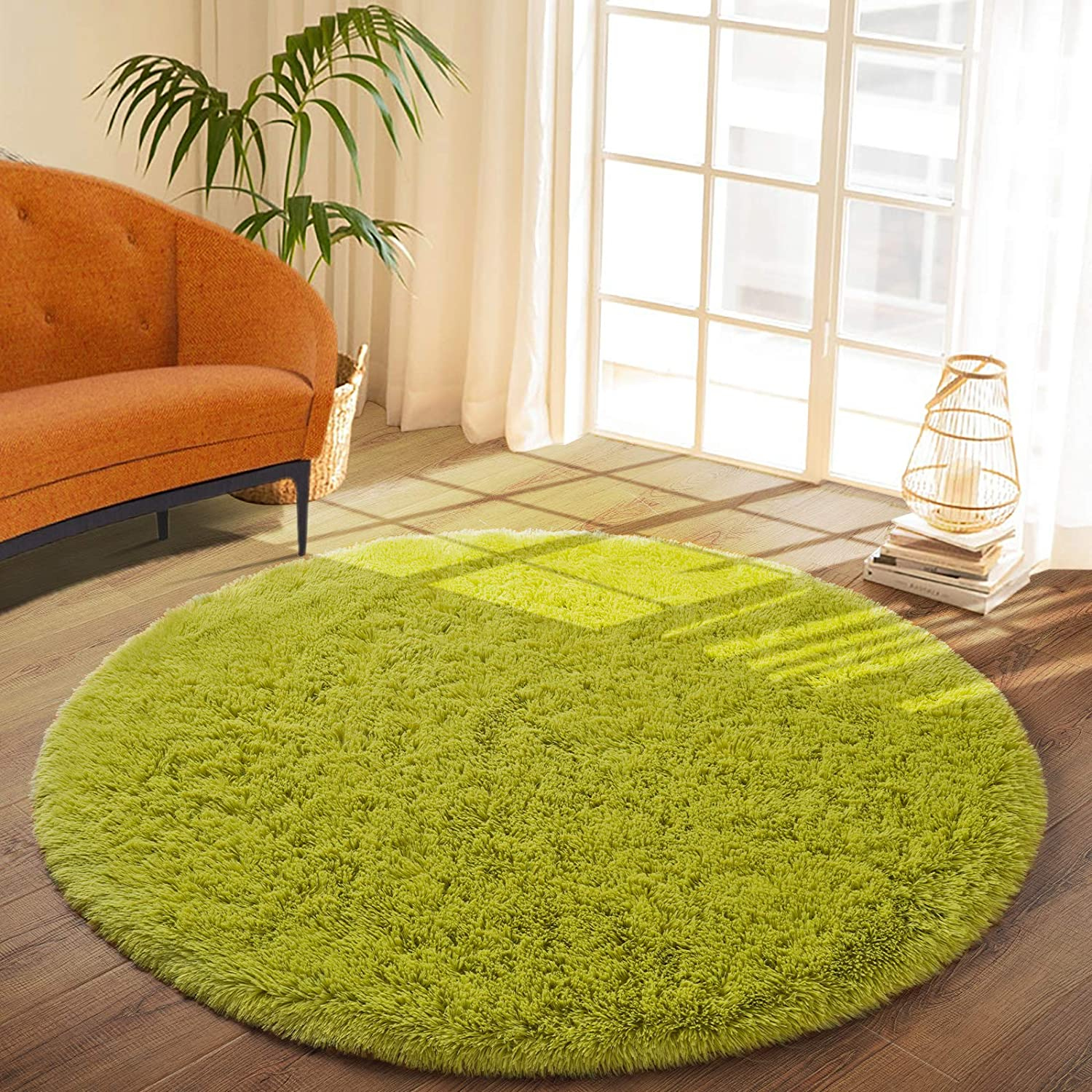 DETUM Soft Round Fluffy Bedroom Rugs for Girls Boys, Fuzzy Circle Area Rug for Nursery Playing Reading Room, Kids Room Carpets Shaggy Cute Rugs for Dorm Bedside Home Décor, 4 Feet, Green