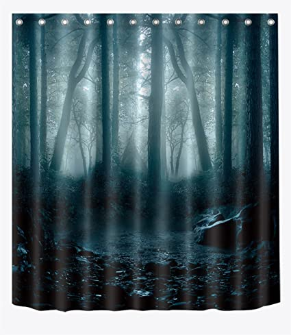 Amazon LB Spooky Dark Forest Woods Shower Curtain Set For
