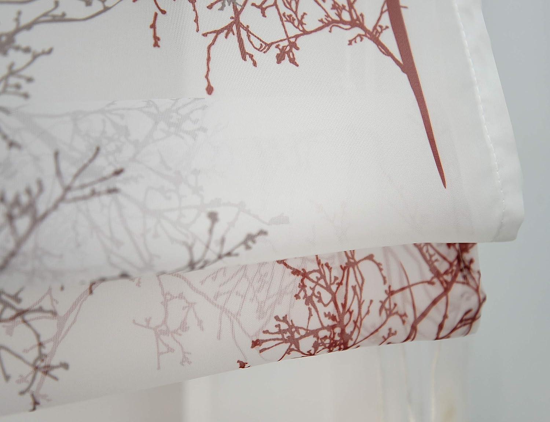 LxH//60x140cm, Rouge//Brun-Passe Tringle BAILEY JO Store Romain Transparent Voile avec Motif Branche Hauteur R/églable Store Bateau