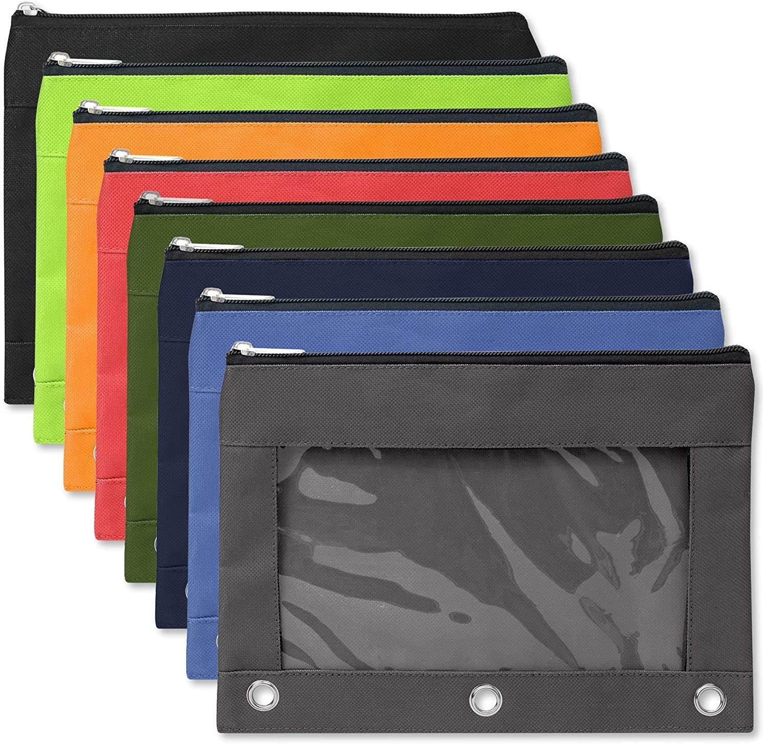 """24 Pack of 3 Ring Pencil Pouch with Clear""""See Through"""" Window - 24 Bulk Pack Bundle (Color Pack 1)"""