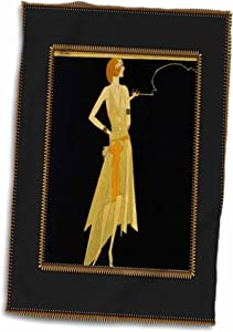 "3D Rose Art Deco Lady On Black with Gold Frame TWL_39590_1 Towel, 15"" x 22"""