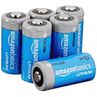 Amazon Basics 6-Pack Lithium CR123a 3 Volt Battery, 10-Year Shelf Life, Easy to Open Pack
