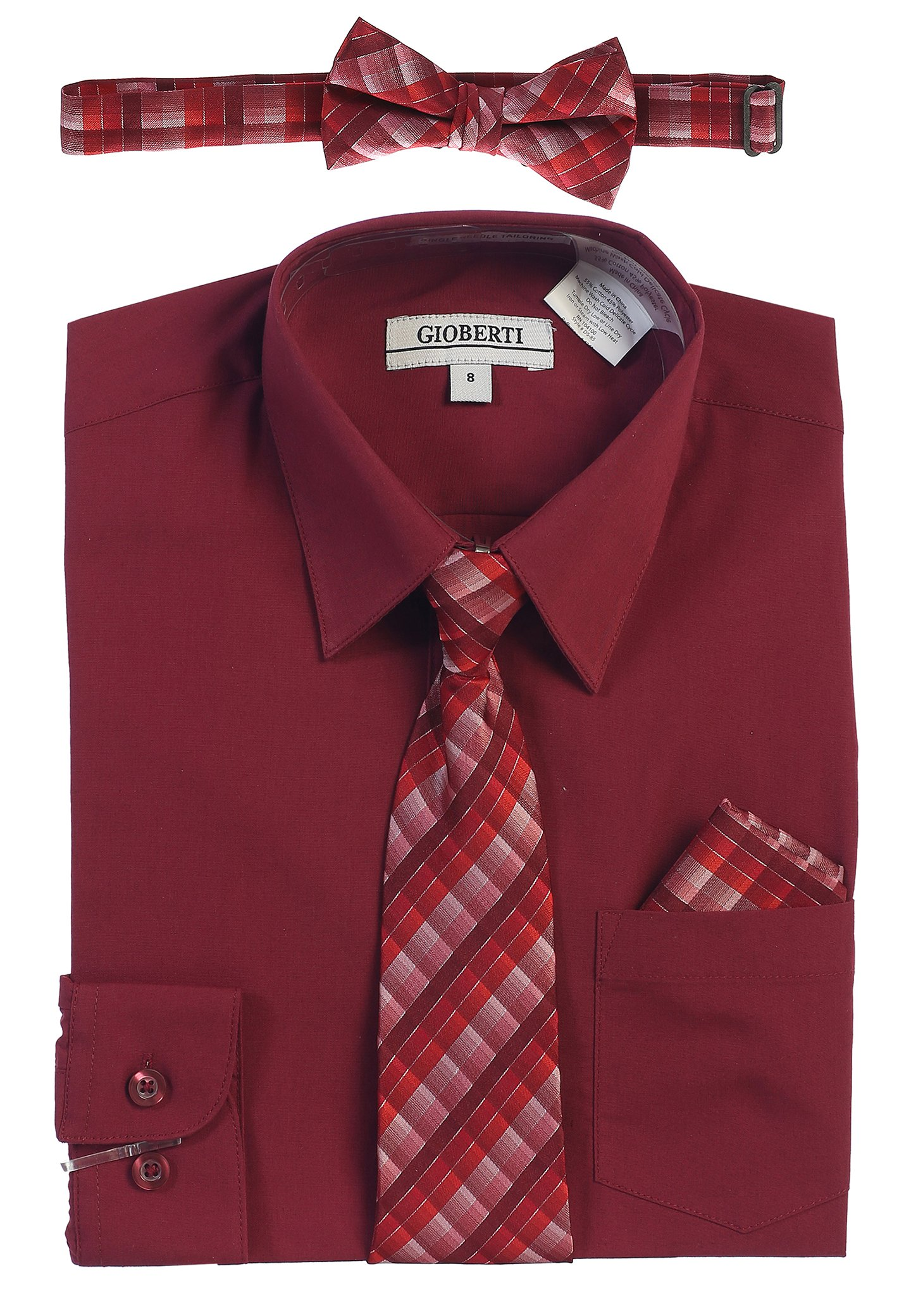 Gioberti Boy's Long Sleeve Dress Shirt and Plaid Tie Set, Burgundy, Size 4T