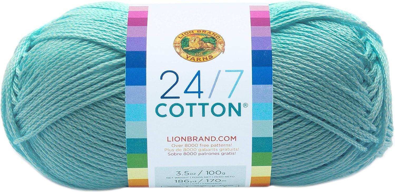 Lion Brand Yarn 761-102 24-7 Cotton Yarn, Aqua