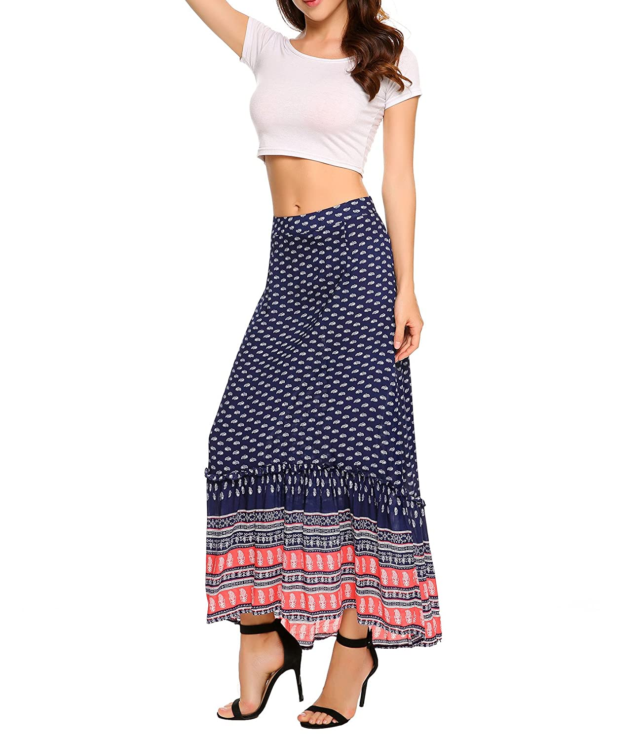 44f5b8119 Chigant High Waist Floral Printed Pleated Skirt Boho Chiffon Midi Skirts  for Women at Amazon Women's Clothing store: