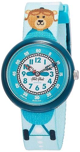 Flik Flak Reloj Analógico para Nios de Cuarzo con Correa en Tela FBNP119: Amazon.es: Relojes
