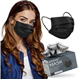 Adult Size Face Mask Black, Disposable Mask 3ply for Men Women Individually Wrapped, Breathable Black Sport Face Cover for Wo