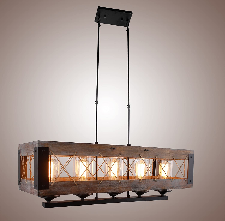 Wood Rectangular Pendant Lighting Chandelier Kitchen Island Lighting Hanging Ceiling Light Fixture Vintage Rustic Oil Black 32 Inches 5 Lights Island Lights Amazon Canada
