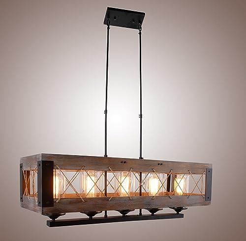 Decomust Dot Com Wood Rectangular Pendant Kitchen Island Hanging Ceiling Light Fixture Vintage Rustic Oil Black, 32 Inches