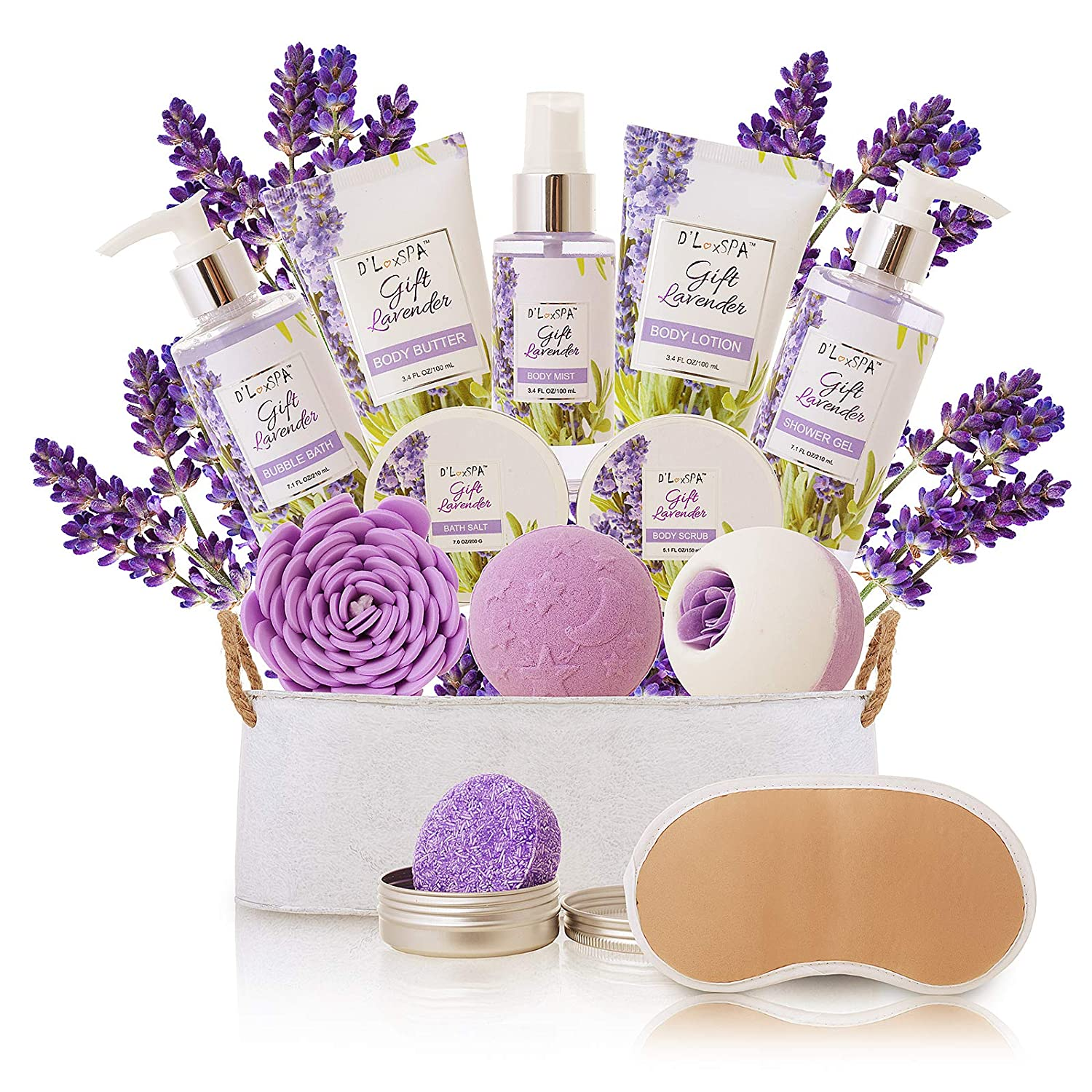 Spa Gift Baskets for Women Lavender Bath and Body At Home Spa Kit Mothers Day Spa Gifts Ideas - Luxury 15pcs with Bath Bombs, Shampoo Bar, Eye Mask, Shower Gel, Bubble Bath, Salts, Body Scrub Lotion: Beauty