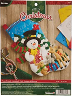 Bucilla 18 Inch Christmas Stocking Felt Applique Kit 86657 Forest Friends