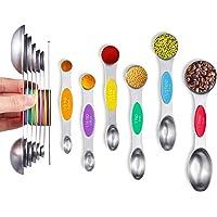 Magnetic Measuring Spoons, Kmeivol 7-Pack Stainless Steel Double Sided Measuring Spoons, Cute Metal Measuring Spoons Set…