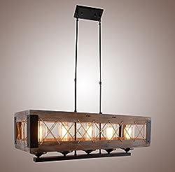 Wood Rectangular Pendant Lighting Chandelier Kitchen Island Lighting Hanging ,Ceiling Light Fixture Vintage Rustic Oil Black (32 Inches ( 5 Lights ))