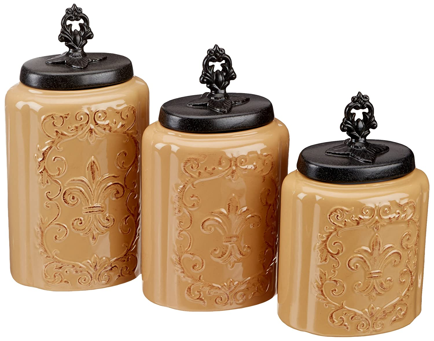 amazon com american atelier canisters red set of 3 home kitchen