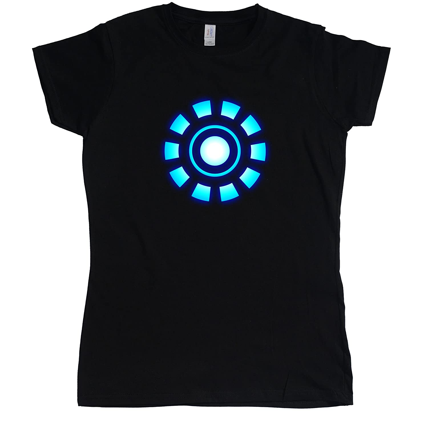 Stooble Womens's Arc Reactor Black T-Shirt, Size S Stooble - 1ClickPrint