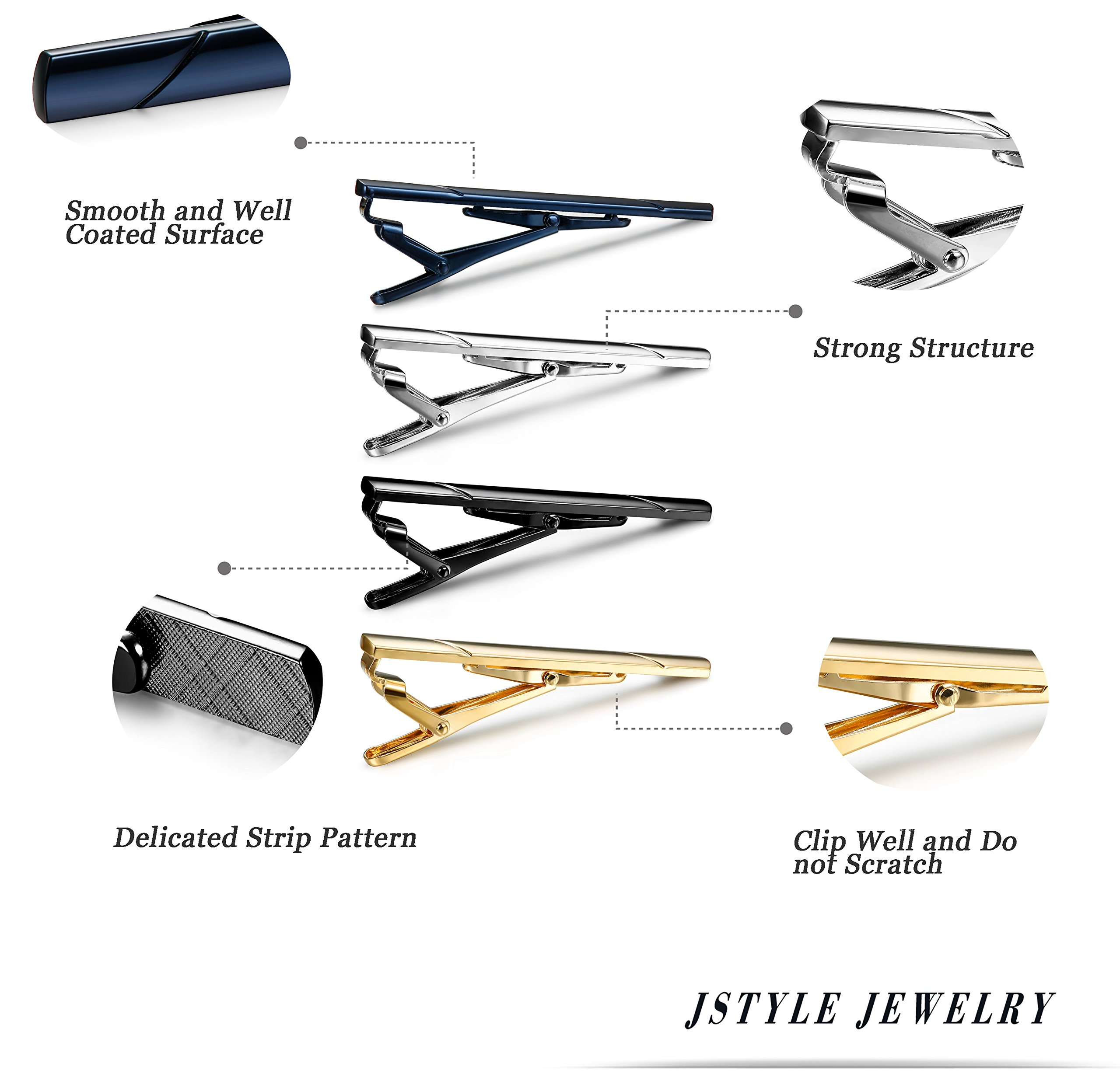 Jstyle 4 Pcs Tie Clips for Men Tie Bar Clip Set for Regular Ties Necktie Wedding Business Clips by Jstyle (Image #4)
