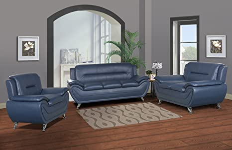 Stupendous Us Livings Anya Modern Living Room Polyurethane Leather Sofa Set Sofa Loveseat And Chair Blue Andrewgaddart Wooden Chair Designs For Living Room Andrewgaddartcom