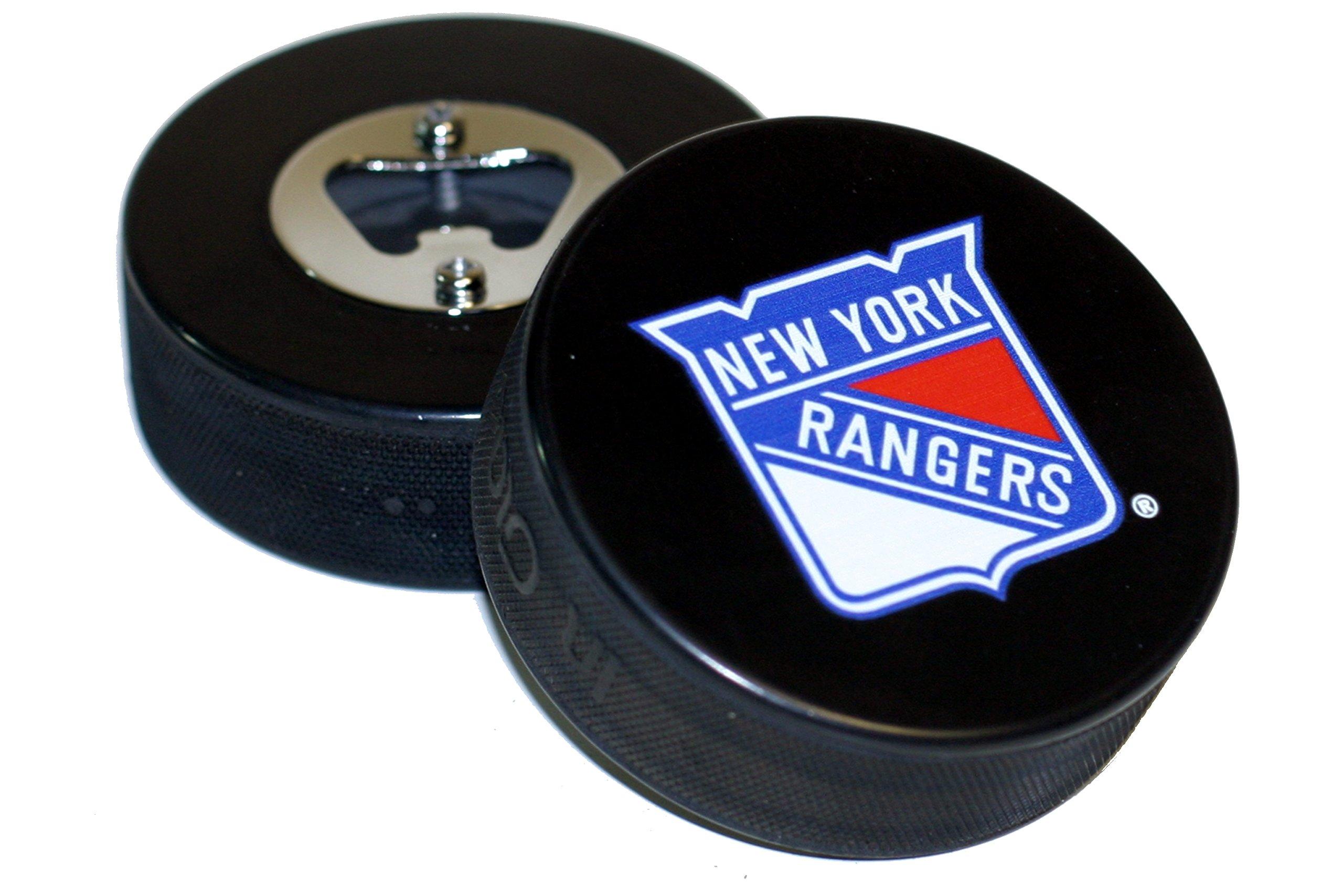 New York Rangers Basic Logo NHL Hockey Puck Bottle Opener