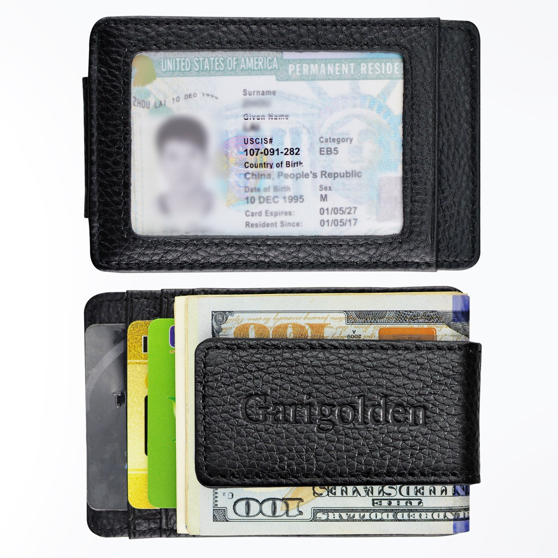 Garigolden Money Clip, Leather RFID Blocking Wallet for Men(Black) … by Garigolden (Image #1)