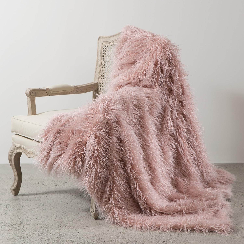 Amazon.com: Best Home Fashion Pink Mongolian Lamb Faux Fur Throw ... for Sheep Fur Blanket  75sfw