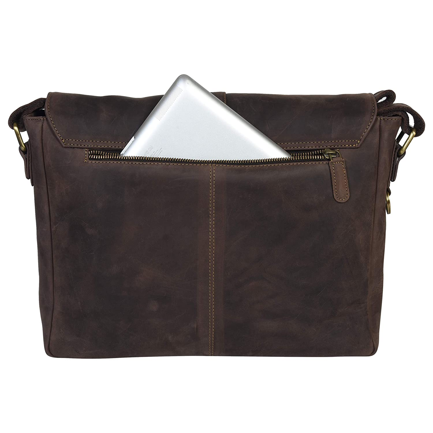 14 inch Laptop Bag for College Work Office by LEVOGUE Genuine Leather Messenger Bag for Men and Women