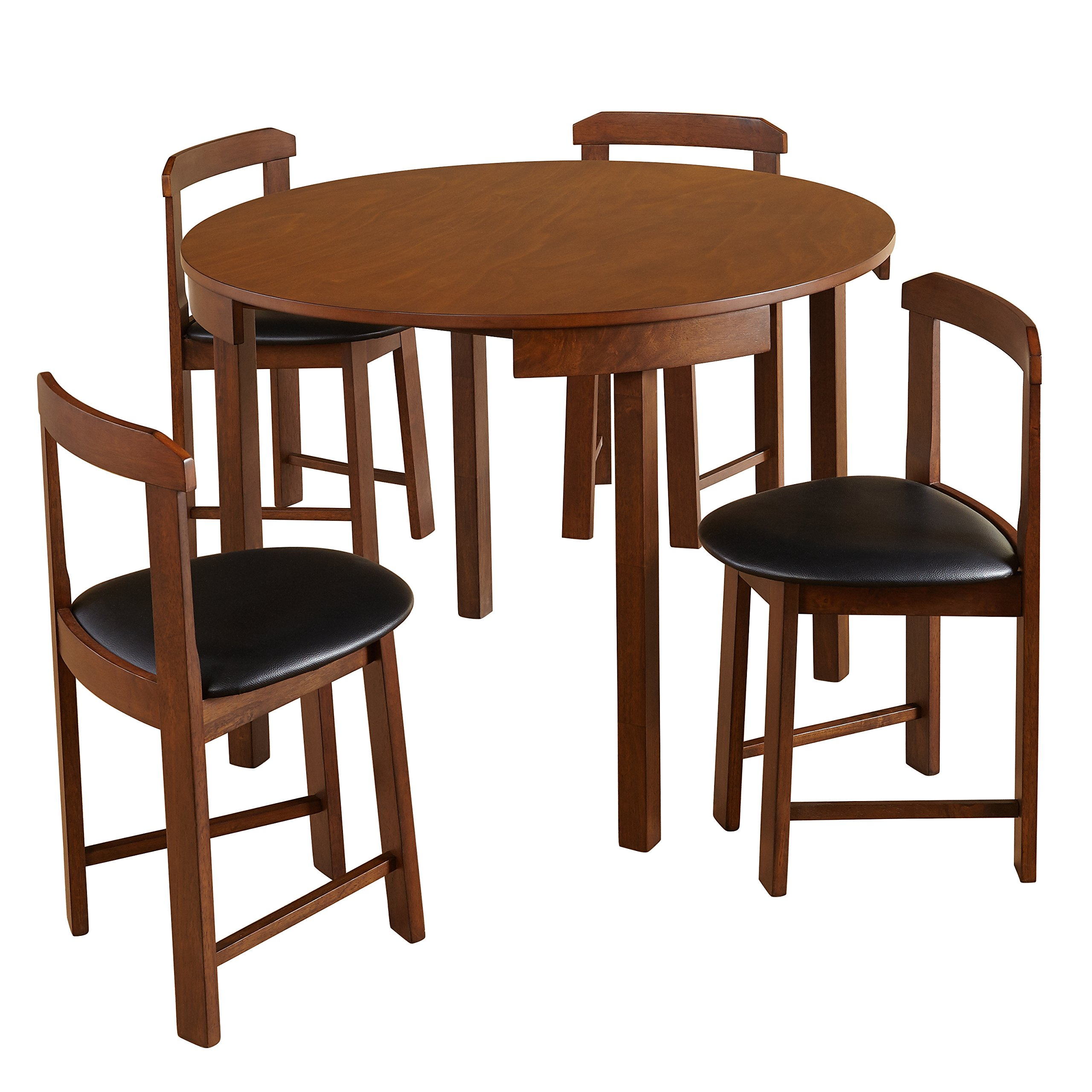 Target Marketing Systems 35515WAL Zuma Collection Compact Set 5-Piece Round Nesting Dining Table & Chairs, Walnut