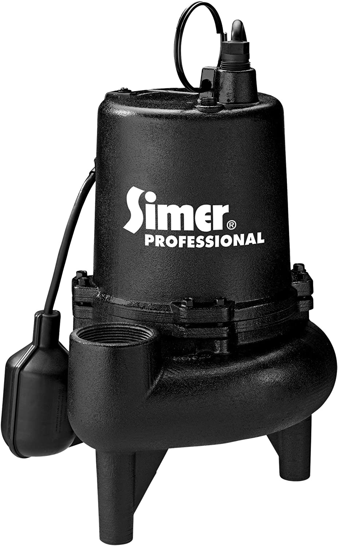 Simer 5965 3/4 HP Professional Grade Sewage Pump