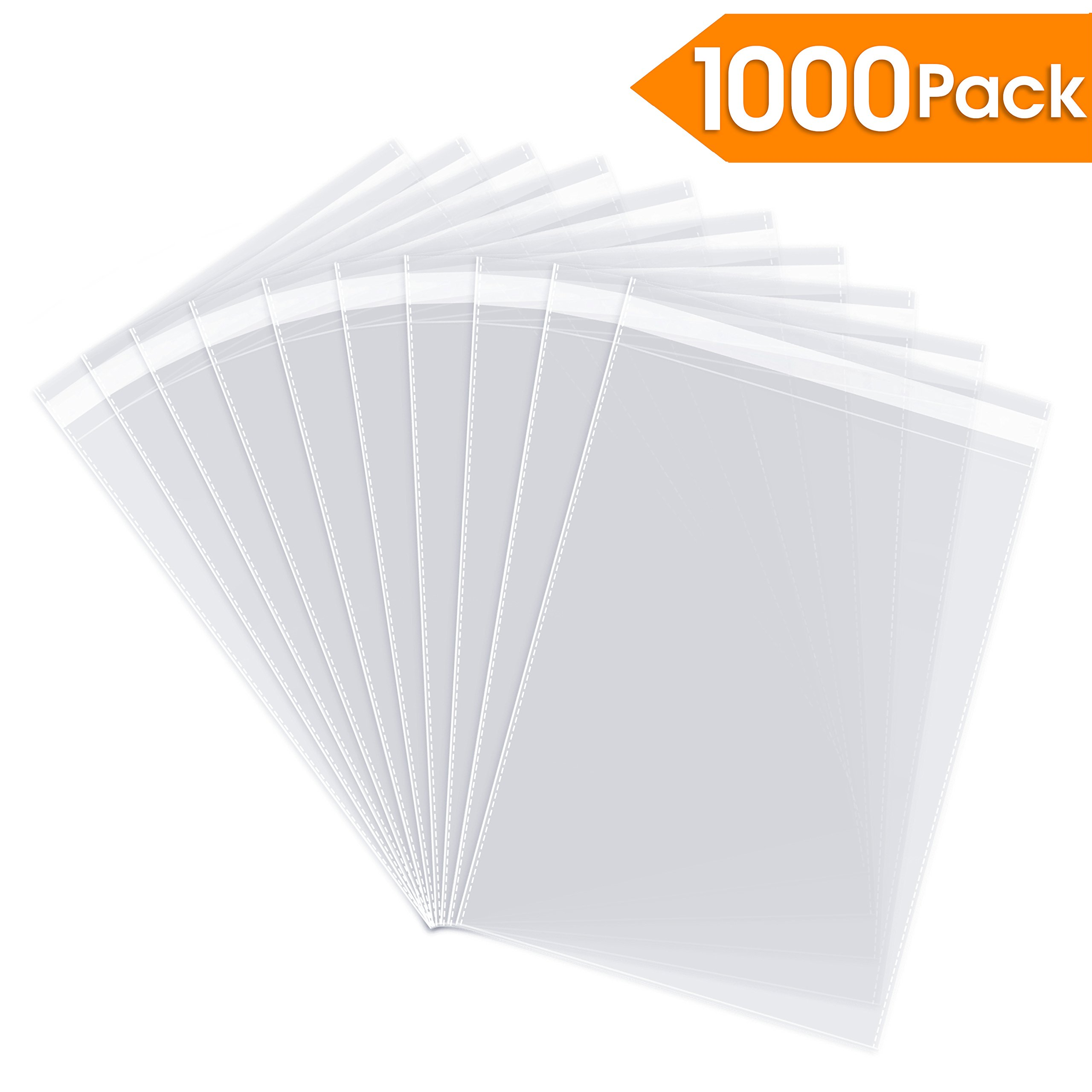 """10"""" X 13"""" (1000 Pack) Self Seal Cellophane Clear Poly Cello Bags - Perfect for Apparel, T Shirts, Shirts Packaging"""